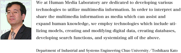 We (Human Media Laboratory) are dedicated to develop technologies to utilize, create and modify, find, and systemize multimedia information, in order to interpret and share the multimedia information as media forms which expand and actively support human knowledge and humans can easily understand. We will do this with attention to various contexts and backgrounds.